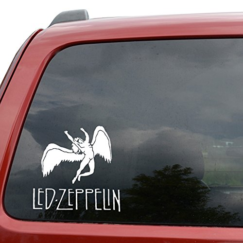 """Led Zeppelin Rock Band Car Window Vinyl Decal Sticker- 6"""" Wide White Color"""