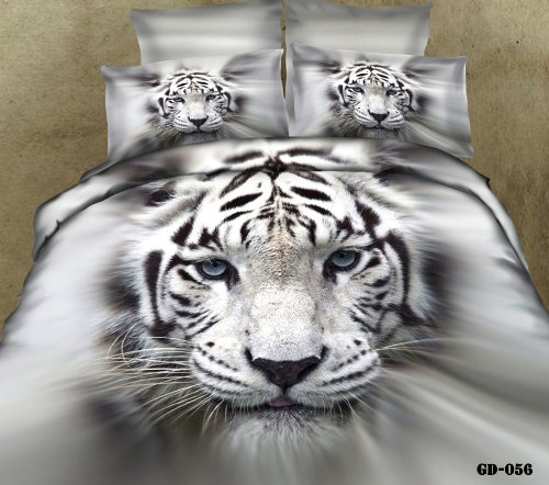 Queen King Size 100% Cotton 7-Pieces 3D White And Black Big Tiger Head Animal Prints Fitted Sheet Set With Rubber Around Duvet Cover Set/Bed Linens/Bed Sheet Sets/Bedclothes/Bedding Sets/Bed Sets/Bed Covers/ Comforters Sets Bed In A Bag (Queen) front-1070775