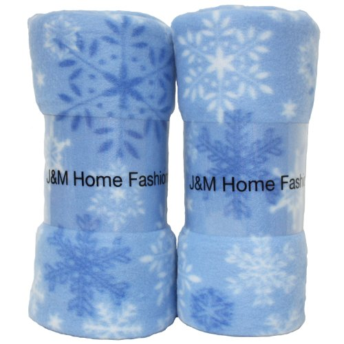 Holiday Snowflake Print Fleece Blanket, 50 by 60-Inch, 2-Pack