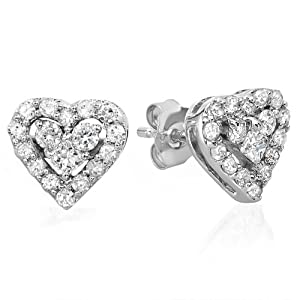 10K White Gold Round & Princess White Diamond Heart Shaped Earrings (0.55 cttw, F-G-H Color, SI-I Clarity)