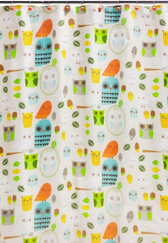 Creative Bath Products Inc. S1070MULT Give A Hoot Shower Curtain, Multicolored