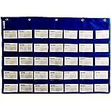Wander Agio School Count Pocket Literacy Chart Card Deluxe Calendar Pocket Wall Hanging Chart Teaching Materials Blue