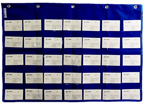 Wander Agio School Count Pocket Literacy Chart Card Deluxe Calendar Pocket Wall Hanging Chart Teaching Materials Blue (35 Pocket Chart compare prices)