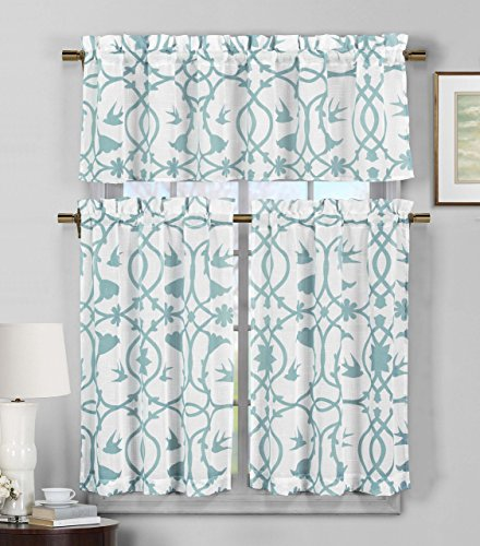 Semi Sheer Window Curtain Set: Botanical Design, 2 Tiers, 1 Valance (Teal Blue and White)