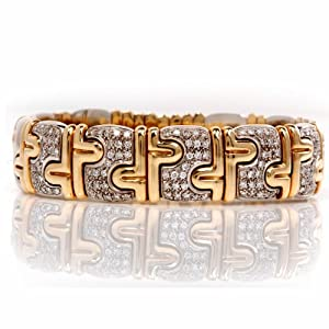 Estate Italian Design Diamond 18k Gold Bracelet