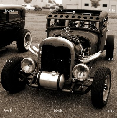 Wallmonkeys Peel and Stick Wall Graphic - Model A Coupe Ratrod in Sepia - 24
