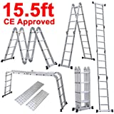 Yaheetech 15.5' Platform Multi-Purpose Folding Aluminum Ladder w/ 2 Free Plate EN131 Certifiled