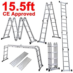 Best Choice Products® 330LB 15.5' Step Platform Multi Purpose Aluminum Folding Scaffold Ladder EN131