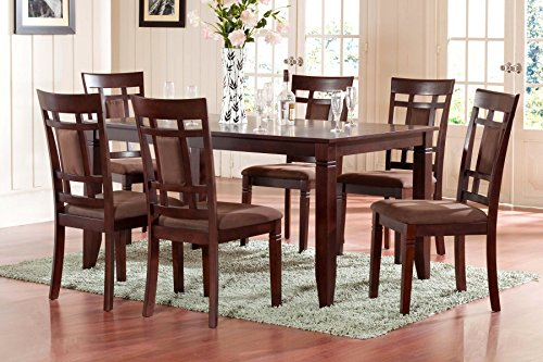 Roundhill Furniture Inworld 7 Piece Dining Set, Dark Cherry (Cherry Dining Room Table compare prices)