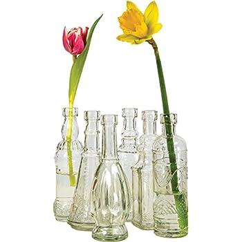 Luna Bazaar Small Vintage Glass Bottle Set (7-Inch, Clear, Set of 6) - Flower Bud Vases Bulk - For Home Decor and Wedding Centerpieces