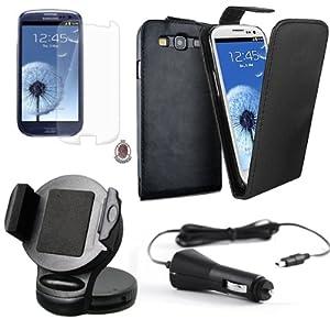 4in1 SET für Samsung Galaxy S3 i9300 Autohalterung 360 Grad + KFZ Ladekabel + Flip Style Ledertasche + Displayschutzfolie ultra transparent für Samsung Galaxy S3 SIII i9300 / AUTOHALTERUNG / Autohalter KFZ Halterung 360° Grad Schwankbar VIBRATIONSFREI / KFZ Halterung / KFZ Halter / Gerätehalter / Passivhalter / Universell / Smartphone / Universal / Car Holder / PKW / LKW / + KFZ LADEKABEL / Ladegerät / Car Charger micro USB / + Flip Style Ledertasche / Etui / Cover / Leder Tasche / Case / Hülle / Schutzhülle / Handytasche / Luxsus Design / Edel UltraSlim / Original Lanboo Zubehör Set /Kostenloser Versand !!!