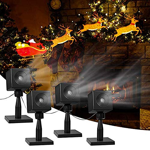 YUNLIGHTS Christmas Light Projector Santa and Reindeer Outdoor, LED Projector Lights Christmas Outdoor Decorations Holiday Projector for Yard Pathway, Home, Hotel, Party, Garden Decor 4packs (Color: Black)