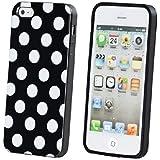 ECENCE Apple iPhone 5 5S Coque de protection housse case cover rétro noir à pois blanc 22040404