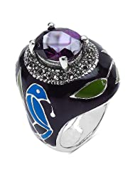 9.30 Grams Blue Cubic Zirconia & Marcasite Brass Black, Green & Turquoise Enamel Ring