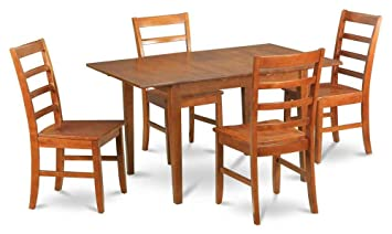 5-Pc Dining Set in Saddle Brown Finish