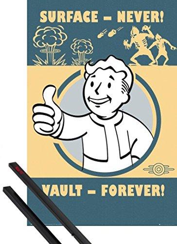 Poster + Sospensione : Fallout Poster Stampa (91x61 cm) 4, Vault Forever e Coppia di barre porta poster nere 1art1®