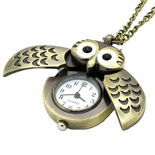 Dayan Owl Antique Style Necklace Pendant Quartz Pocket Watch
