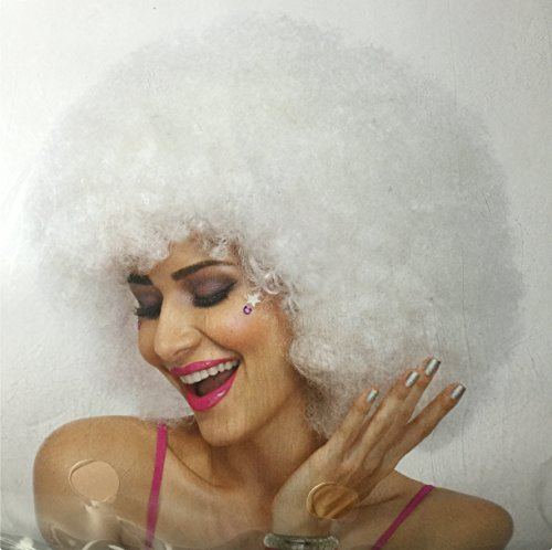 [Funky Afro Wig, White, One Size, Women] (Holloween Spirits Costumes)