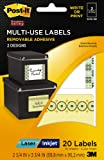 Post-it Multi-Use Designer Series Labels, 2 Designs, Laser/Inkjet, 2 3/4 x 3 3/4 Inches, 10 Sheets per Pack (6250-ND)