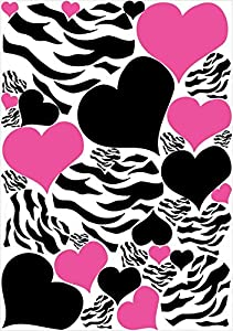 Zebra Print, Black and Hot Pink Heart Wall Stickers,decals, Graphics from Presto Chango Decor,inc.