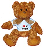 I Love/Heart Beagle Plush Teddy Bear with BLUE T-Shirt