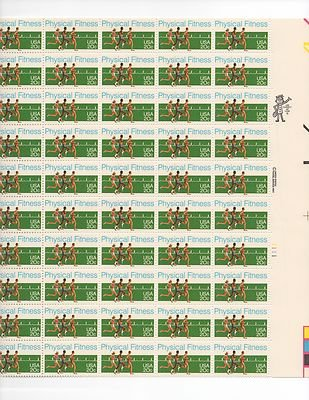 Physical Fitness Sheet of 50 x 20 Cent US Postage Stamps NEW Scot 2043