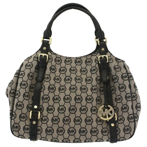 Michael Kors Bedford Large East West Logo Tote Beige Black