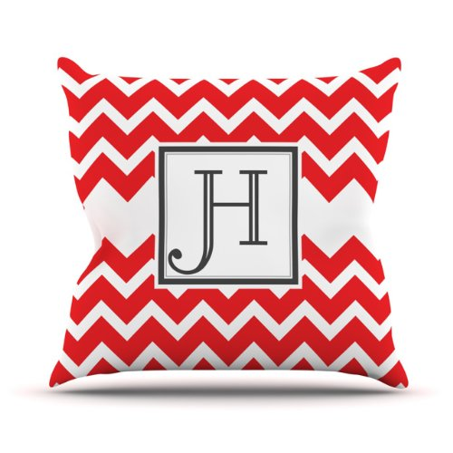 "Kess Inhouse Kess Original ""Monogram Chevron Red Letter H"" Outdoor Throw Pillow, 16 By 16-Inch front-958317"