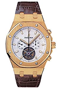 Audemars Piguet Royal Oak Mens Silver Dial Brown Strap 18K Yellow Gold Chronograph Tourbillon Watch 25977BA.OO.D088CR.01