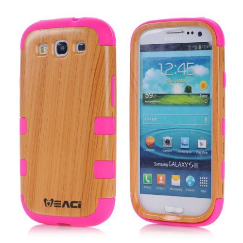 Meaci Samsung Galaxy S3 I9300 Case Hard Soft Wood-Plastic Composite&Silicone Combo Hybrid Defender Bumper (Hotpink)
