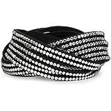 styleBREAKER weiches Strass Armband, eleganter Armschmuck mit Strassteinen, Wickelarmband, 6x1-Reihig, Damen 05040005