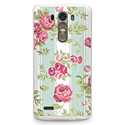 Hard Plastic Case for LG G3, CasesByLorraine Mint Striped Rose Floral Pattern PC Case Plastic Cover for LG G3 (P26)