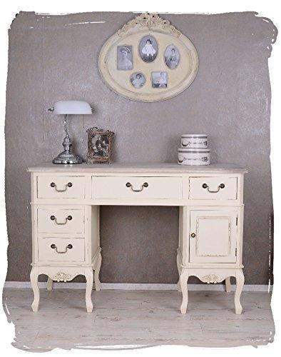 Antiker Schreibtisch, Computertisch, Schreibmöbel, Sekretär, Arbeitstisch, Tisch aus Holz im angesagten Vintage-Stil in Weiß – Palazzo Exclusive