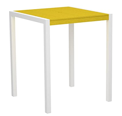 "POLYWOOD 8102-10LE MOD 36"" Bar Table, Gloss White/Lemon"