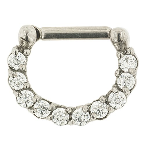 """Stainless Steel Septum Clicker With Prong-Set Gems: 16G, 1/4"""" Wearable Length, Clear Cz Gems"""