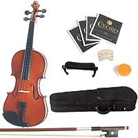 Mendini 4/4 MV200 Solid Varnish Violin Bundle (Natural Wood)