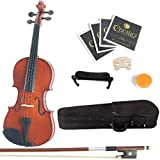 Mendini 3/4 MV200 Solid Wood Natural Varnish Violin with Hard Case, Shoulder Rest, Bow, Rosin and Extra Strings