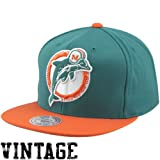 NFL Mitchell & Ness Miami Dolphins Throwback XL Logo 2T Snapback Hat - Aqua/Orange at Amazon.com