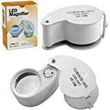 CostMad ® Jewellers Jeweler Pocket Loupe 40 x 25 mm Magnifier Magnifying Glass Eye Lens Pieces with Illuminated LED Light and free Case Chrome Finish