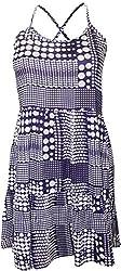 Attuendo Women's Abstract Polka Dot Spaghetti Strap Dress (Small)