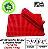 Non Stick Heat Resistant Raised Pyramid Shaped Silicone Baking, Roasting Mats - 16 Inches X 11.5 Inches - Red by X-Core Home
