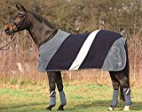 HKM Cavallino Marino Anti Sweat Rug -Atlantis- Stripes Eu165/Uk7'3/Us 87 Grey Blue/Night Blue/Ivory