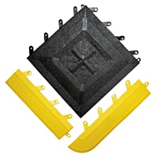 "Wearwell PVC 543 FIT Functional Interlocking Anti-Fatigue Gritted Tile, Solid, for Wet Areas, 12"" Width x 12"" Length x 5/8"" Thickness, Black (Pack of 20)"