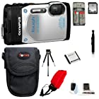 Olympus Stylus Tough TG-850 Digital Camera (White) + 32GB Memory Card + Standard Large Digital Camera Case + Extra Battery + Accessory Kit