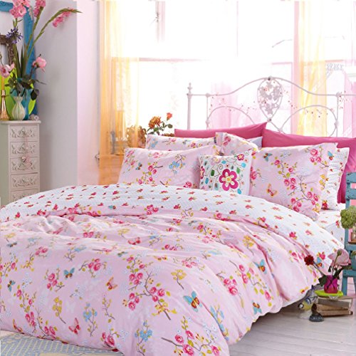 awardpedia butterfly love flower duvet cover set pink girls bedding kids bedding full size. Black Bedroom Furniture Sets. Home Design Ideas