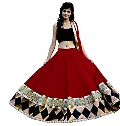 Decent World Designer Red Net Embroidered Unstitched Fashion Dress Material