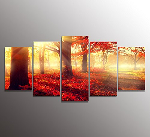 youkuart kx9920Canvas Wall Art Daydream Red Morning in the Forest, Nature Painting USA Design for Home Decor, Modern Framed Set of 5 (Wall Decor Nature compare prices)