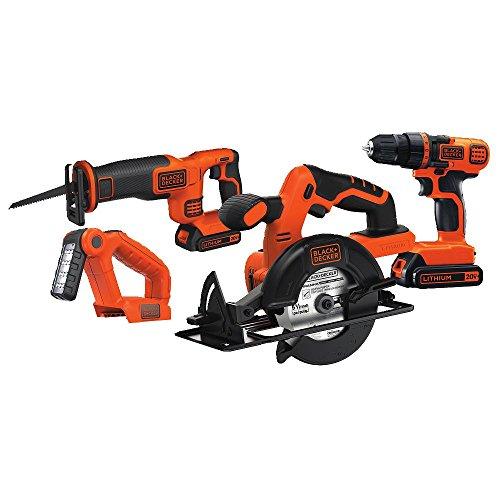 Black & Decker BD4KITCDCRL 20V MAX Drill/Driver Circular and Reciprocating Saw Worklight Combo Kit (Black Decker Saw compare prices)