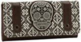 Gothic Rockabilly Sugar Skull Applique Tweed Canvas Brown Faux Leather Wallet