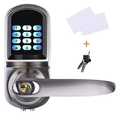 EZlock Electronic Keyless Backlit Keypad Door Lock, Unlock by Code, Card, Code+ Card, Mechanical Key